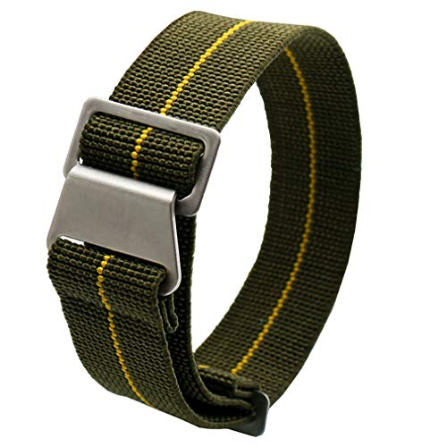60's French troops Parachute Special Elastic Nylon Watch Band Man's Universal Nylon Strap Army-Green 20mm, Green with Yellow