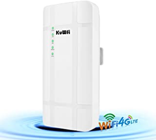 KuWFi 300Mbps Waterproof Outdoor 4G LTE CPE Router with POE Adapter CAT4 LTE Routers 3G/4G SIM Card WiFi Router for IP Cam...