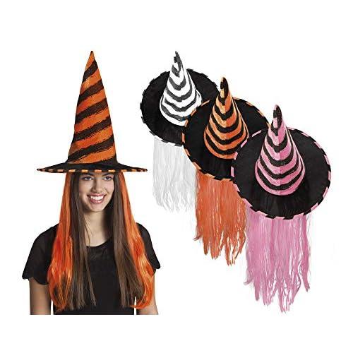 Cappello Strega Rhona a righe colorate con capelli, colori assortiti