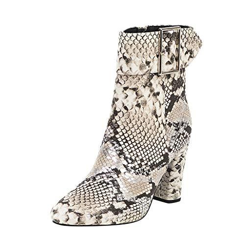 SHE.White Damen Stiefel, Frauen Schlangenleder Druck Stiefel Schuhe Hohe Schuhe Britischen Stil Kurz Schnallenriemen Ankle Boots mit Reißverschluss High Heels