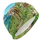 PINLLG - Gorro de natación para Hombre, diseño de Vaca y Pradera