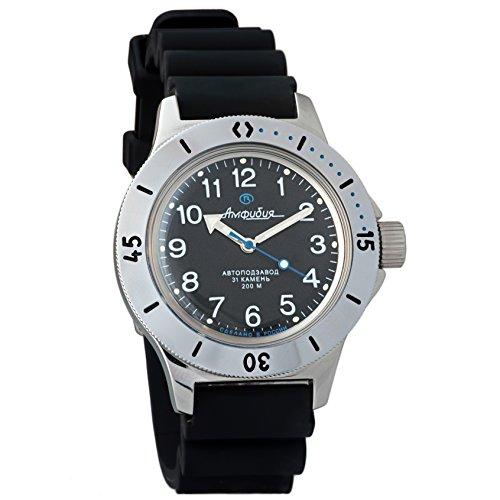 Vostok Amphibian 120811 - Reloj de pulsera automático, reloj de buceadores militares rusos 2416B/2415 (200 m)