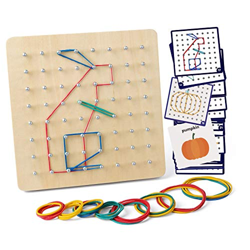 Coogam Wooden Geoboard Mathematical Manipulative Material Array Block Geo Board  Graphical Educational Toys with 30Pcs Pattern Cards and Latex Bands Shape STEM Puzzle Matrix 8x8 Brain Teaser for Kid