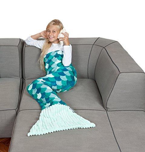 Kanguru Coperta Sirena Kids, taglia unica per bambini, lunga 135 cm, morbido pile, turchese.