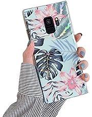 Herbests Compatible con Samsung Galaxy S9 Funda de Silicona Suave Funda de Flores Elegante Carcasa Diseño Ultra Delgada Cubierta TPU Bumper Antishock Case Cover, Rosa