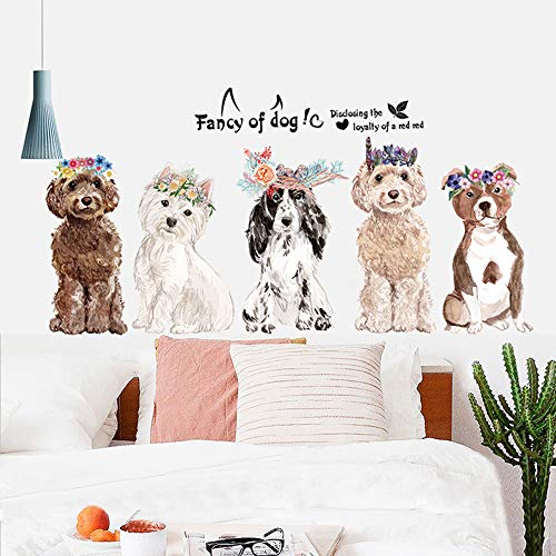 Fancy of Dog Large Size Wall Stickers Wall Decor for Bedroom Living Room Removable Vinyl Art Mural Decals for Girls Boys Kids