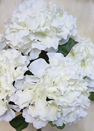 "Sweet Home Deco 18"" Super Soft Silk Hydrangea Artificial Flower Bush (5-stem, 5mop Heads), with No Pot(centerpieces/Wedding Decoration) (White)"