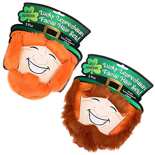 ifundom 2 Piezas St. Disfraz de Dia de Patricio Autoadhesivo Falso Disfraz de Duende Barba Barba Pelirroja Barba Amish para Vacaciones Ao Nuevo Fiesta Del Da de Patricks Favores