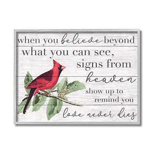Stupell Industries Believe Love Never Dies Inspirational Cardinal Bird Word Grey Framed Wall Art, 11 x 14, Design by Artist Daphne Polselli