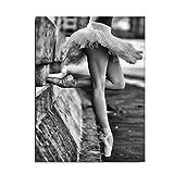 Topker 30x40cm Ballerina-Mädchen Schwarz-Weiß-Stil