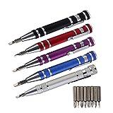 HUXIZ Destornilladores multifunción 8 en 1 Mini bolígrafo de precisión de aluminio, destornillador, juego de herramientas de reparación para teléfono celular, juego de herramientas de mano