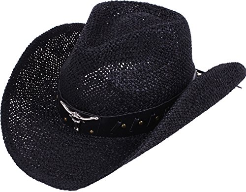 Toppers Costume Mens Womens Cowboy Sun Hat Wide Brim Woven Western Straw Cowboy Hat Black