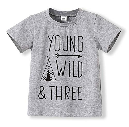 Children Gray Young Wild Three Birthday Brother Twin Letter Print