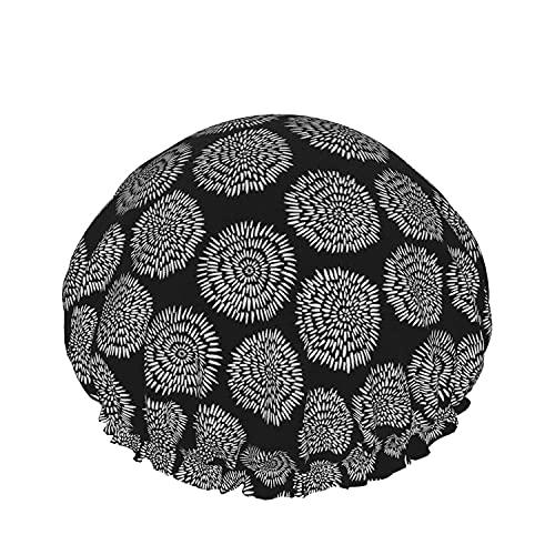 Gorro de ducha de baño asiático Sombreros de baño reutilizables elásticos para mujeres Impermeables y ajustables