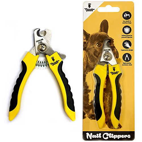Thunderpaws Profi Krallenschere Schutzvorrichtung, Sicherheitsverschluss und Nagelfeile – Krallenschneider Krallenzange für Hunde – Geeignet für mittelgroße und große Rassen (Klein bis Mittel, Gelb)