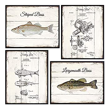Freshwater Fishing Patent Print Set- Vintage Rustic Bass Reel Lure Wood Sign Style Wall Art Home Decor Room Decoration Picture Photos - Lake or River Fish Posters - Gift for Fisherman Angler 8x10