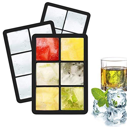 Eiswürfelform-Silikon, HIBOER 3 Stück Eiswürfelbehälter Eiswürfel Silikonformen für Eiswürfel für Gefrierschrank, Whisky, Cocktails, Saft, Schokolade, Süßigkeiten, Götterspeise
