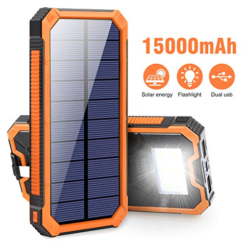 Portable Charger Power Bank 15000mAh, Elzle Solar Charger, Solar Power Bank Battery Pack, High-Speed Charging Solar Phone Charger for iPhone, Samsung and More.
