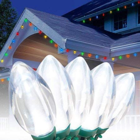 Holiday Time Ultra Bright LED C9 Christmas Lights Cool White, 25 Count