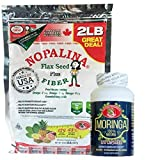 Nopalina Flax Seed Plus Fiber (2LB Bag)- Contains Omega 3, 6 & 9 Supplements,- Organic Flax Seed Oil Bundle Pack W/Moringa Capsules Included