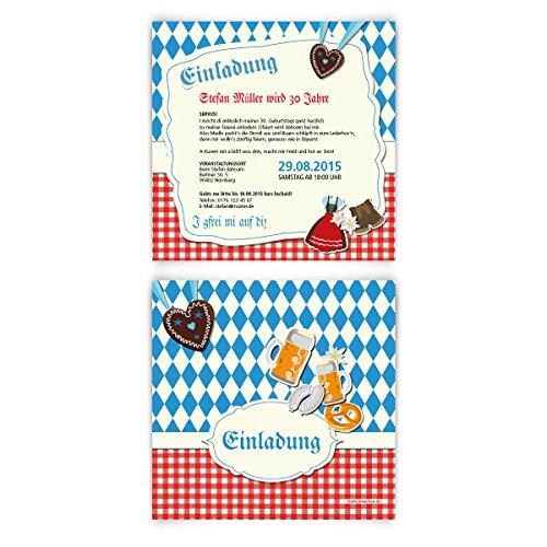Einladungskarten zum Geburtstag (30 Stück) bayrisch Oktoberfest Einladung Bayern Karten