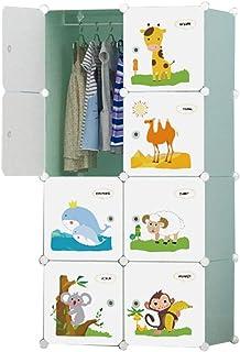 Garde-robe Simple Armoire de Rangement en Plastique Assemblée Tissu Armoire for Enfants Combinaison multifonctionnelle des...
