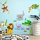 R00429 Pegatina Vinilo Pared Suave Efecto Tejido Decoración Niño Bebé Habitación Infantil Guardería Papel Pintado Autoadhesivo Selva