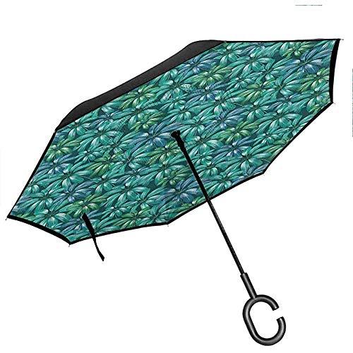 Parapluies Floraux avec Motif de défilement de Fleurs de Protection UV avec des Branches tourbillonnées Laisse des Fleurs Persan Cadet crème