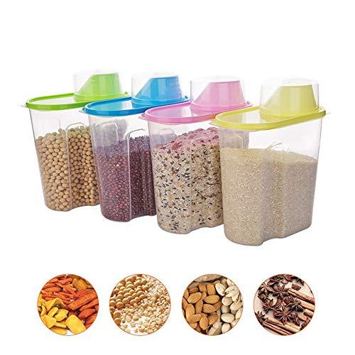 QBLDX 4er-Set Durchsichtiger Kunststoff-Vorratsbehälter Getreidebehälter Spender Mit Ausguss Und Messbecher Für Reis Korn Getreide Haferflocken Zucker Nüsse Bohnen(Size:1.9LX4(4-Piece Set))