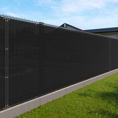 Windscreen4less Heavy Duty Privacy Screen Fence in Color Solid Black 6' x 50' Brass Grommets 150 GSM - Customized