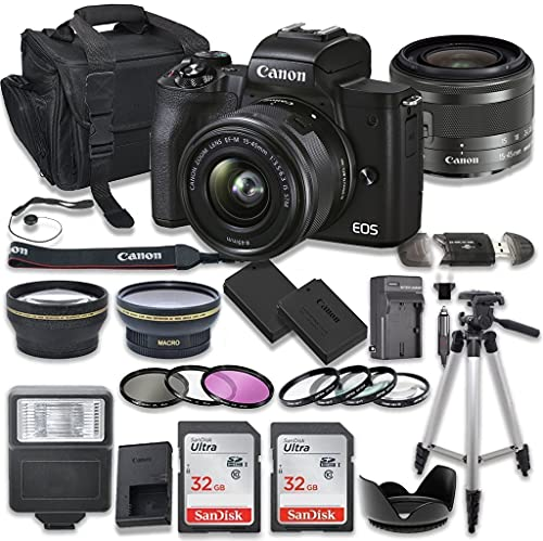 Canon EOS M50 Mark II Mirrorless Digital Camera Bundle with Canon EF-M 15-45mm f/3.5-6.3 is STM Lens, 2X SanDisk 32GB Memory Cards + Accessory Kit (Black)