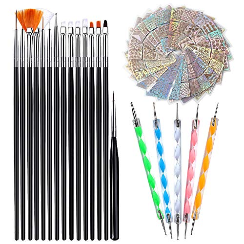 Nageldesign Zubehoer - Nailart Nagel Pinsel Set, 15 Nagel Pinsel 24 Blatt Nail Art Design Schablonen und 5 Nail Art Dotting Pen, Nageldesign Pinsel Zubehoer Brush Set Nägel Fingernagel Pinsel