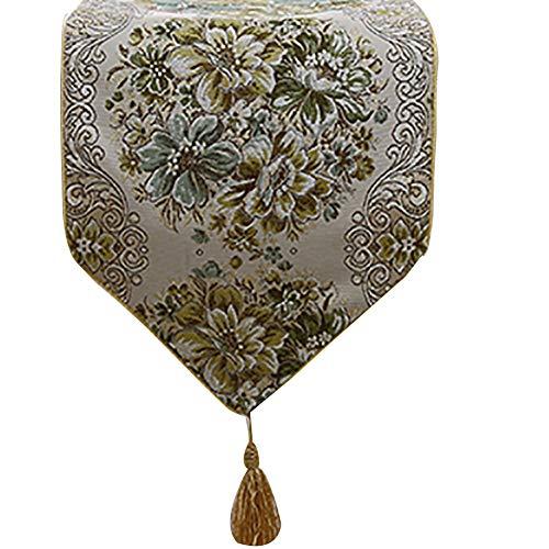 Chemin de Table Pastoral européen, Artisanat de Spectacle en Soie doré, Noble et élégant, Convenant au Mariage et à la fête (Couleur : Vert, Taille : 28X180cm)