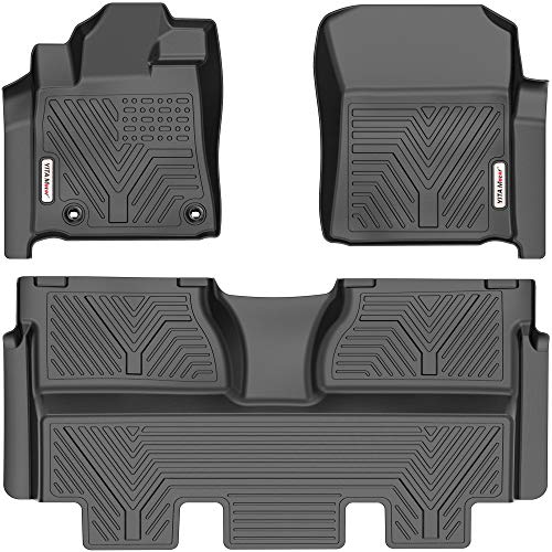 YITAMOTOR Floor Mats Compatible with 2014-2021 Toyota Tundra CrewMax Cab (with Coverage Under 2nd Row Seat), Custom Fit Black TPE Floor Liners, 1st & 2nd Row All-Weather Protection