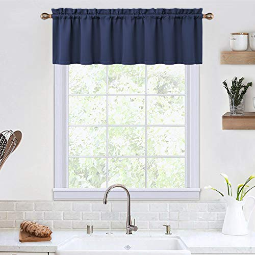 Blackout Valances for Windows Living Room Kitchen Bedroom Thermal Insulated Window Valance Curtains (Navy Blue, 52x15 Inches)