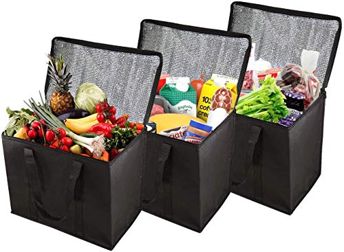 Milky House XL Insulated Reusable Grocery Bag, Extra Large Foldable Reusable Shopping Zipper Bag for Hot and Cold Food Storage and Transport with Reinforced Bottom & Straps (3Pack,16''x9''x13'',Black)