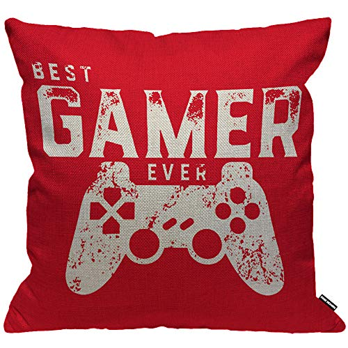 HGOD DESIGNS Cushion Cover Best Gamer Ever For Video Games Geek,Throw Pillow Case Home Decorative for Men/Women Living Room Bedroom Sofa Chair 18X18 Inch Pillowcase 45X45cm