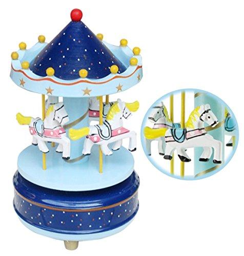 Jouet Premier Age Carrousel Boîte à Musique Carrousel Manège Joyeux en Bois Jouet Cadeau Noël pour Enfants Boîte à Musique Carrousel Boléro Sonate BGM Le Chateau Dans Le Ciel (Bleu )