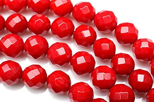 【 福縁閣 】レッドコーラル 赤珊瑚 64面カット 7mm 1連(約40cm)_R5879-7 天然石 パワーストーン ビーズ