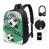 College School Bag Boy Game Fun Football Sport College Bag con Puerto de Carga USB y Puerto de Auriculares para Viajes de Trabajo Universitario