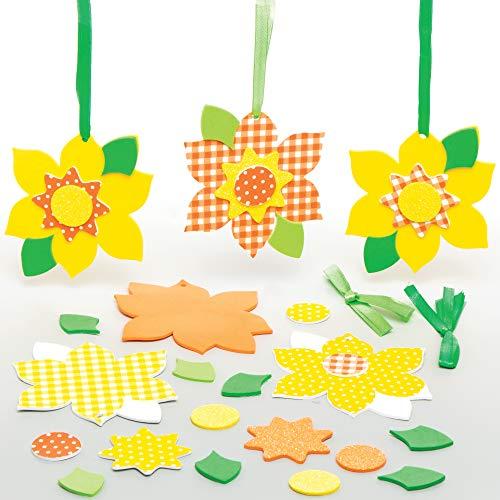 Baker Ross Narzissen Mix & Match Deko Anhänger Bastelset für Kinder (8 Stück) Kreativsets zum Basteln und Dekorieren zu Frühlingszeit