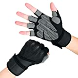 KANGBUKE Workout Gloves Weight Lifting Fitness Gloves Rowing Biking Training Gym Grip Gloves Full Palm Protection with Wrist Support for Fitness Exercise Weight Lifting Gym. (X-Large)