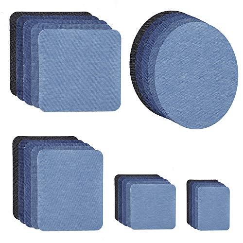 QIMEI-SHOP Toppe Termoadesive Jeans Vestiti Cucire Patch 25 Pezzi Denim Ferro-on Patch Stirare Riparazione Decorazione per Giacche Vestiti Borse Fai da Te