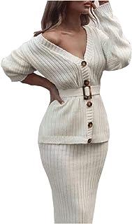 V-Neck Women'S Knitted Skirt Suit Autumn And Winter Bat Sleeves 2 Elegant Party Women'S Sweater Dresses
