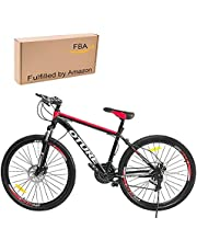 Oture 26 Inch Mountain Bike for Men and Women, 21 Speed Bicycle Front Suspension Lightweight MTB with 17 Inch High Carbon Steel Frame Double Disc-Brake 3/6-Spokes