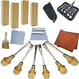 Fycooler Conjunto de herramientas de talla de madera Kit de herramientas de talla de 20 piezas Cinceles de grabado Bloques de tilo para Escultura casera de bricolaje Carpintería Oficio del arte