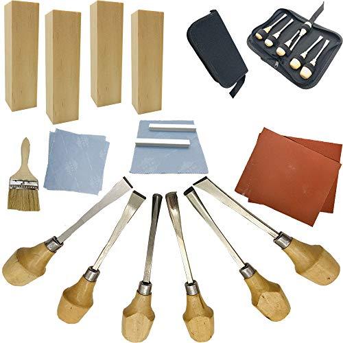 Fycooler 20pcs Set di strumenti di intaglio del legno con Legno da incisione Scalpelli da intaglio Blocchi di tiglio per la casa Scultura artigianale fai-da-te Laboratorio di falegnameria