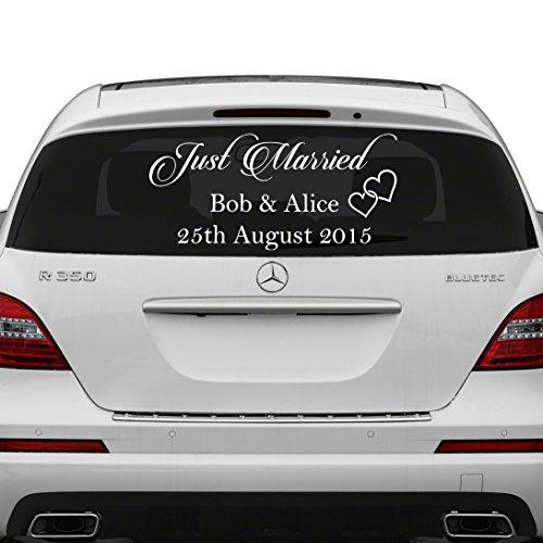 Slaf Ltd. (240x120 cm) gewoon getrouwd op maat Gepersonaliseerde Vinyl Decal/Schrijf uw namen & datum Sticker/Bruiloft Dag Auto Terug Raam Spiegel + Gratis Willekeurige Decal Gift