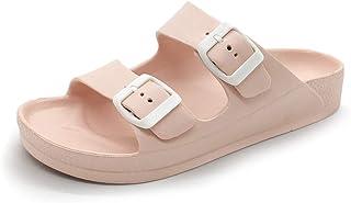 FUNKYMONKEY Women's Comfort Slides Double Buckle Adjustable EVA Flat Sandals (6 M US, Pink A)
