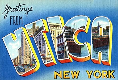 Greetings from Utica Cheap bargain New York Postcard 1930's - Los Angeles Mall Vintage Poste